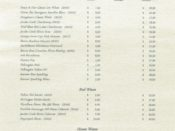 Wine and Beverage List