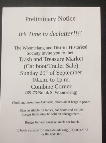 Trash & Treasure Market  coming up!